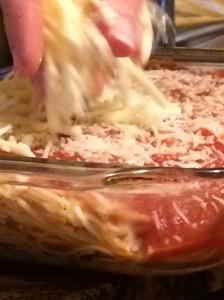 foodiesgalore.com Spaghetti Pizza mozzarella